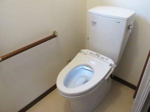 ケアマネージャーの方と相談し、介護リフォームを実施しました。トイレは車いす対応のものに交換しました。一般的な便座よりも高さがあり、車いすから腰を横にずらすだけで座れるようになりました。入口も車いすのまま入れるように大きく開口し、ドアではなくアコーディオンカーテンで仕切りました。廊下との段差も解消しました。