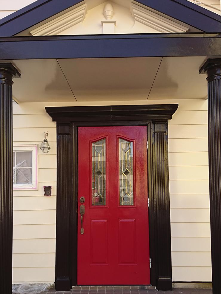 入間市 玄関ドア 塗装